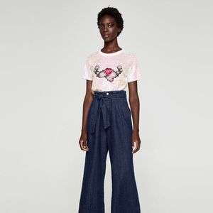 Zara Tops - Sequined tshirt with patch